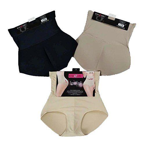 74294f53ba2 NICEEC 3 Pack High Waist Butt Shaper Seamless Underwear Invisible Women s  Butt Lifting Padded Panty Brief-Black Coffee Beige-S M