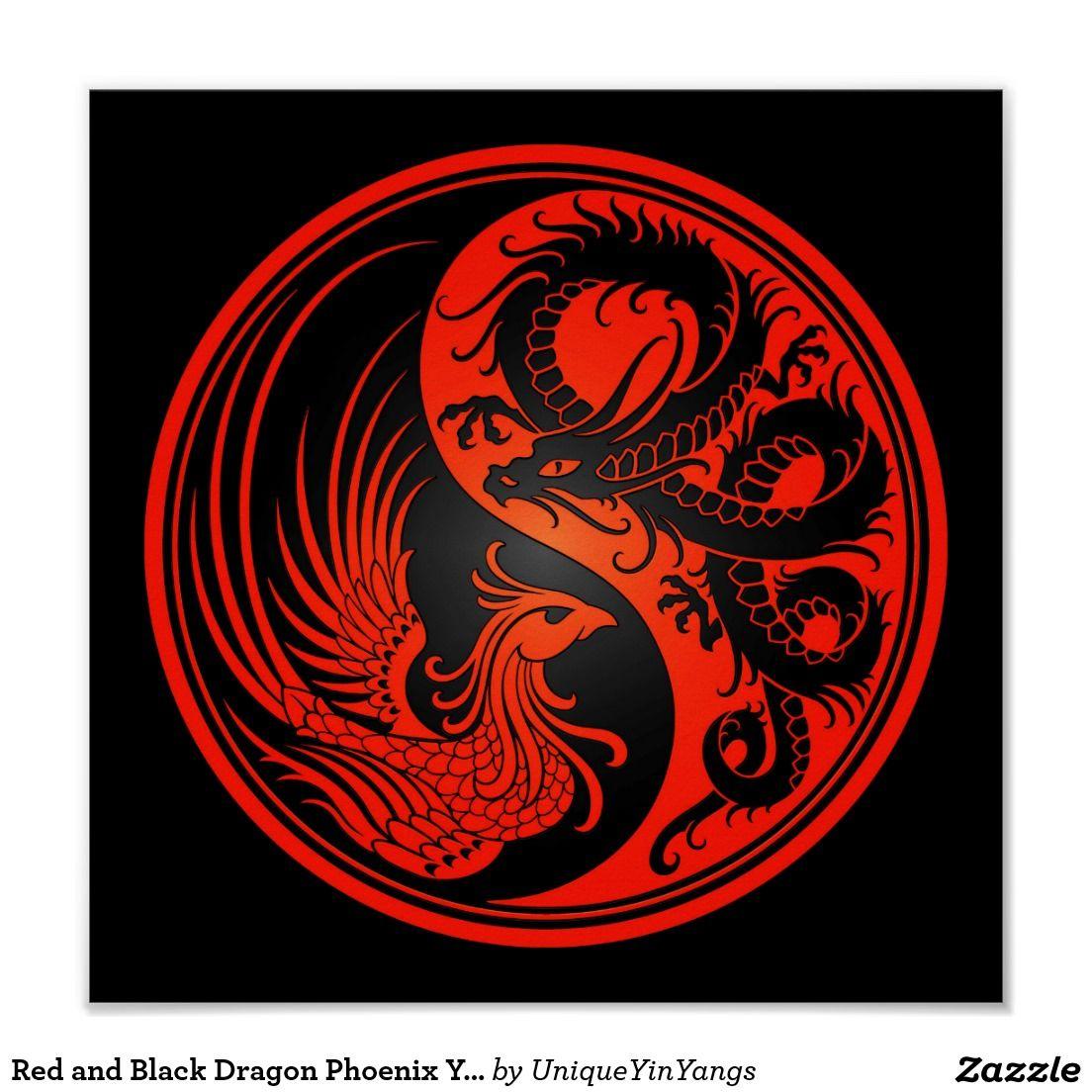 Red And Black Dragon Phoenix Yin Yang Poster Zazzle Com Tattoo Dragon And Phoenix Ying Yang Tattoo Yin Yang Art