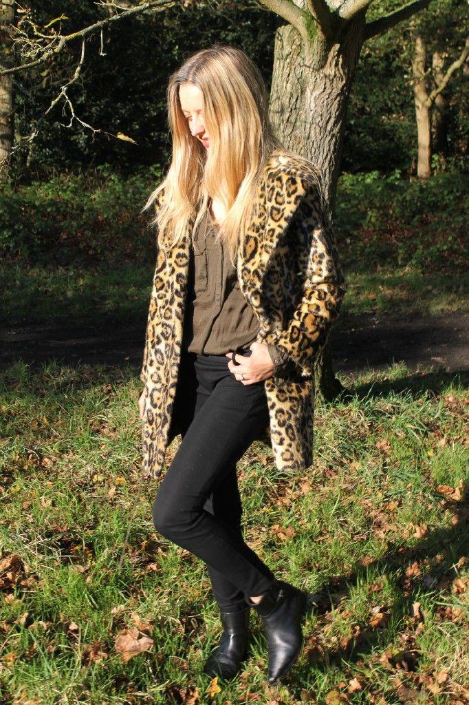 Leopard Coat And Jord Wood Watch