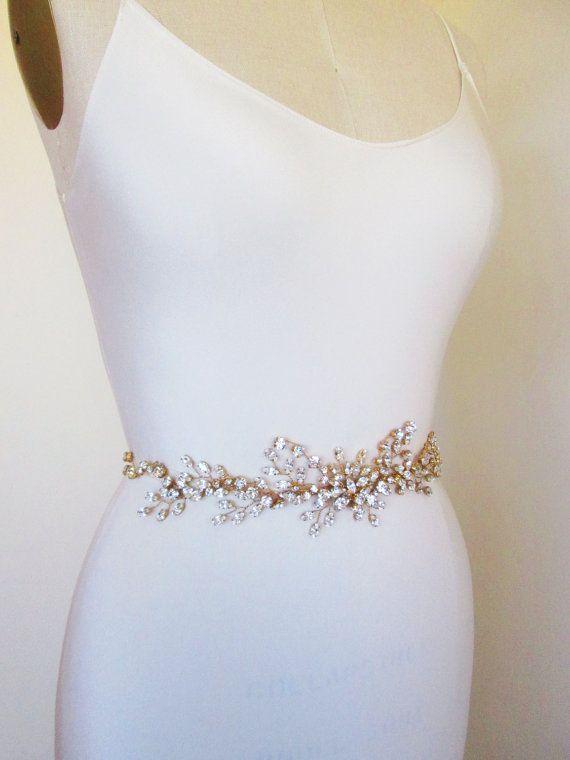 swarovski crystal belt sash or headband in gold or silver, bridal