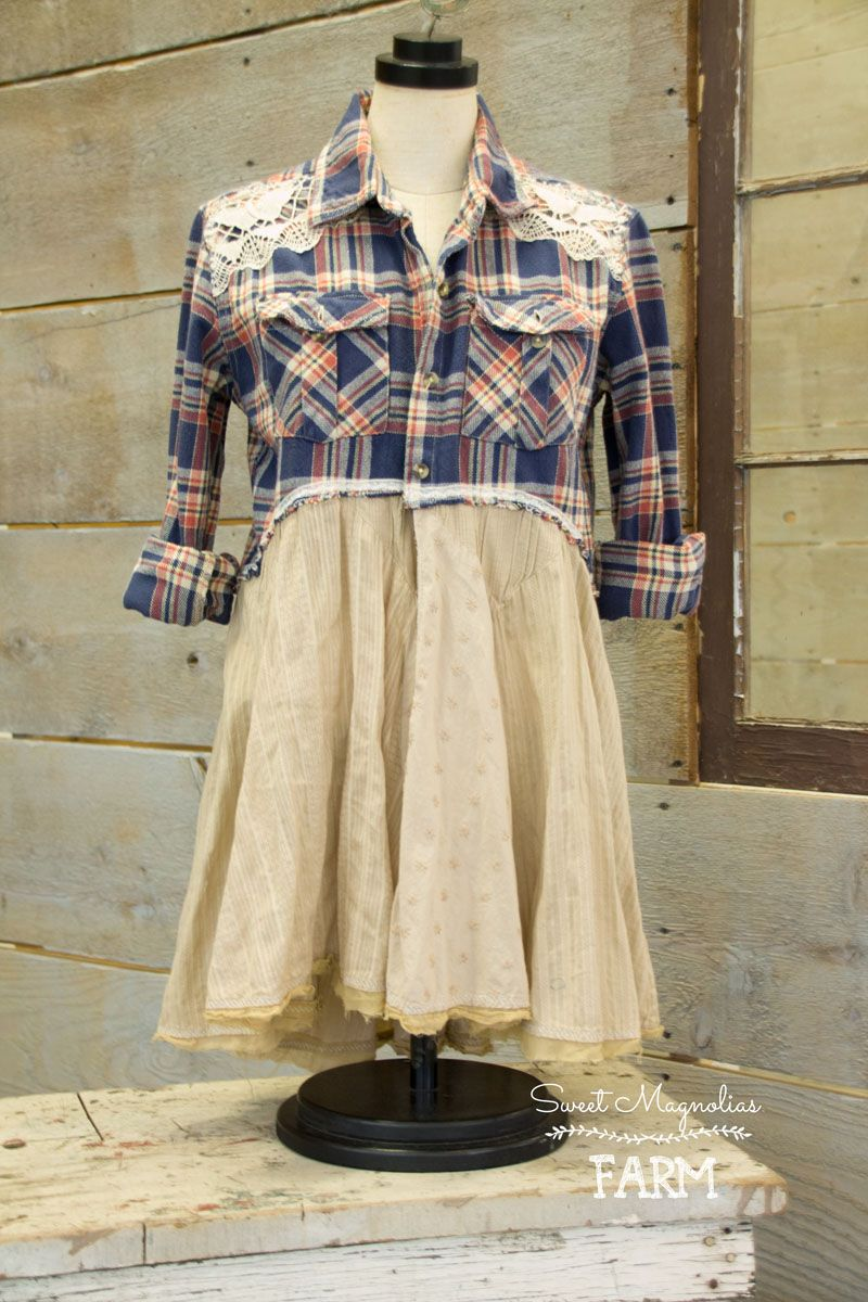 Retro flannel shirts  Farm Girl Fancies Upcycled Flannel Shirt Tunic Jacket  BOHO Top