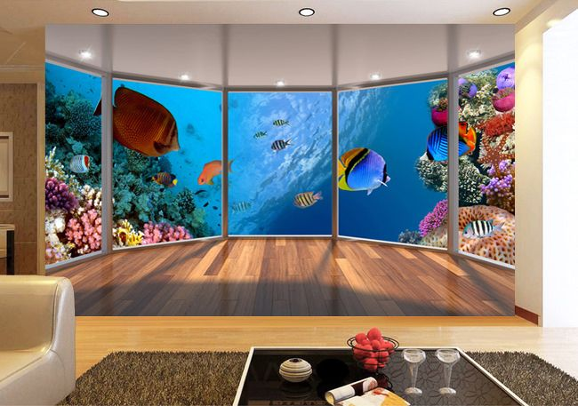 papier peint trompe l 39 oeil effet 3d tapisserie fond marin les coraux et les poissons d co. Black Bedroom Furniture Sets. Home Design Ideas