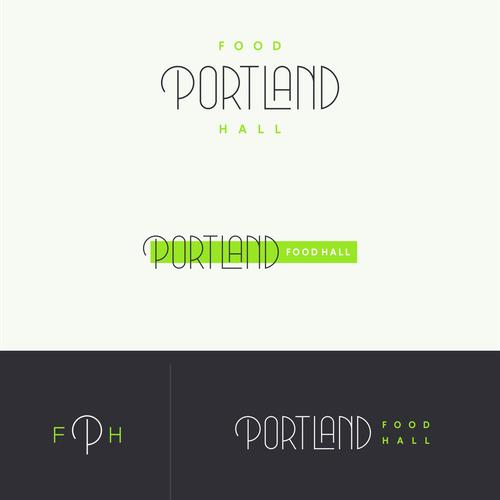portland food hall logo outdoor signage design by scott