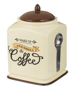Wake Up and Smell the Coffee Covered Canister & Spoon by Grasslands