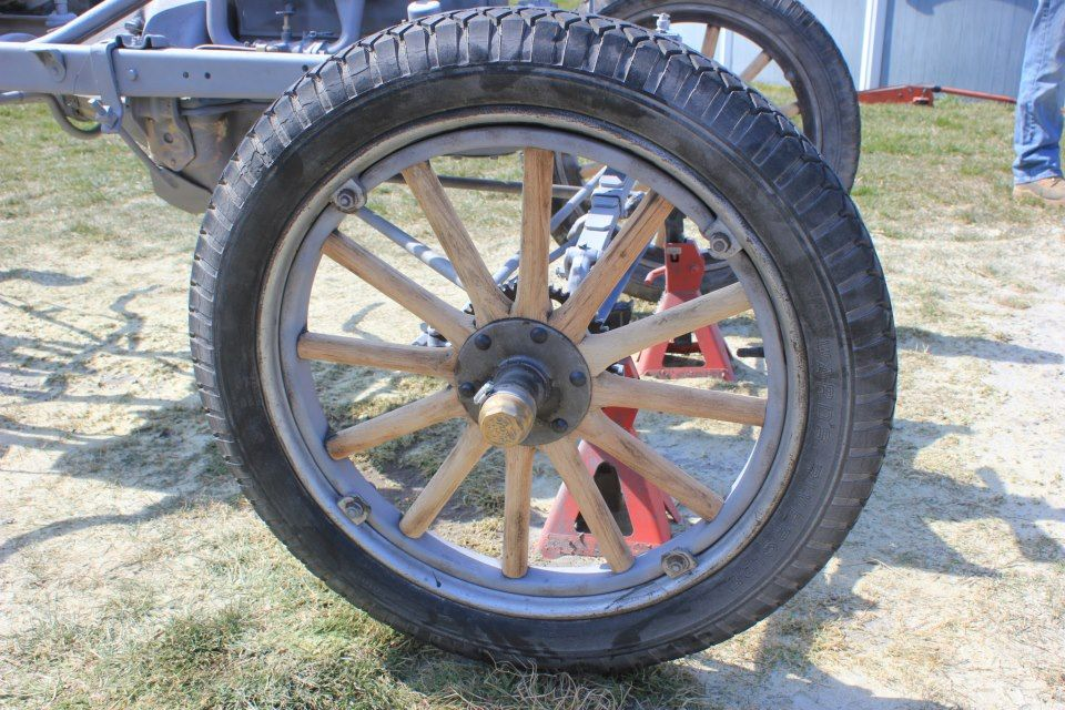 1923 model t wooden wheel after soda blasting to remove
