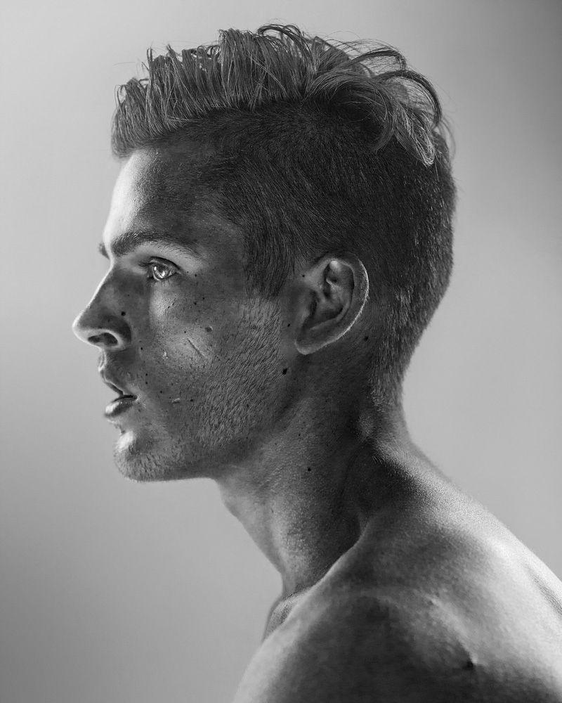 black white b w portrait face grey male model photography phito