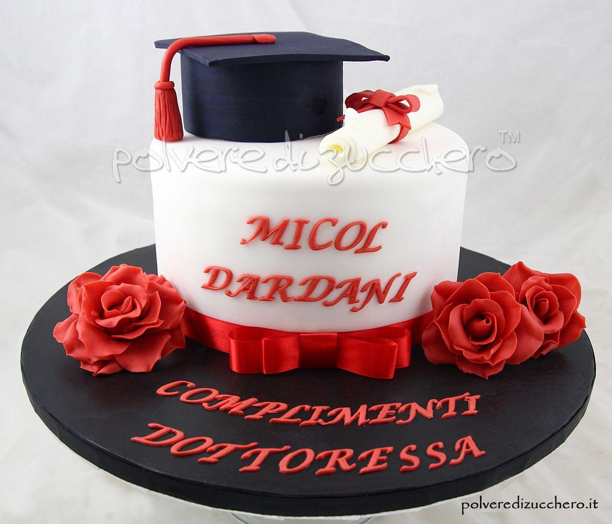 Estremamente Torta laurea con toco pergamen e rose in pasta di zucchero  JH53