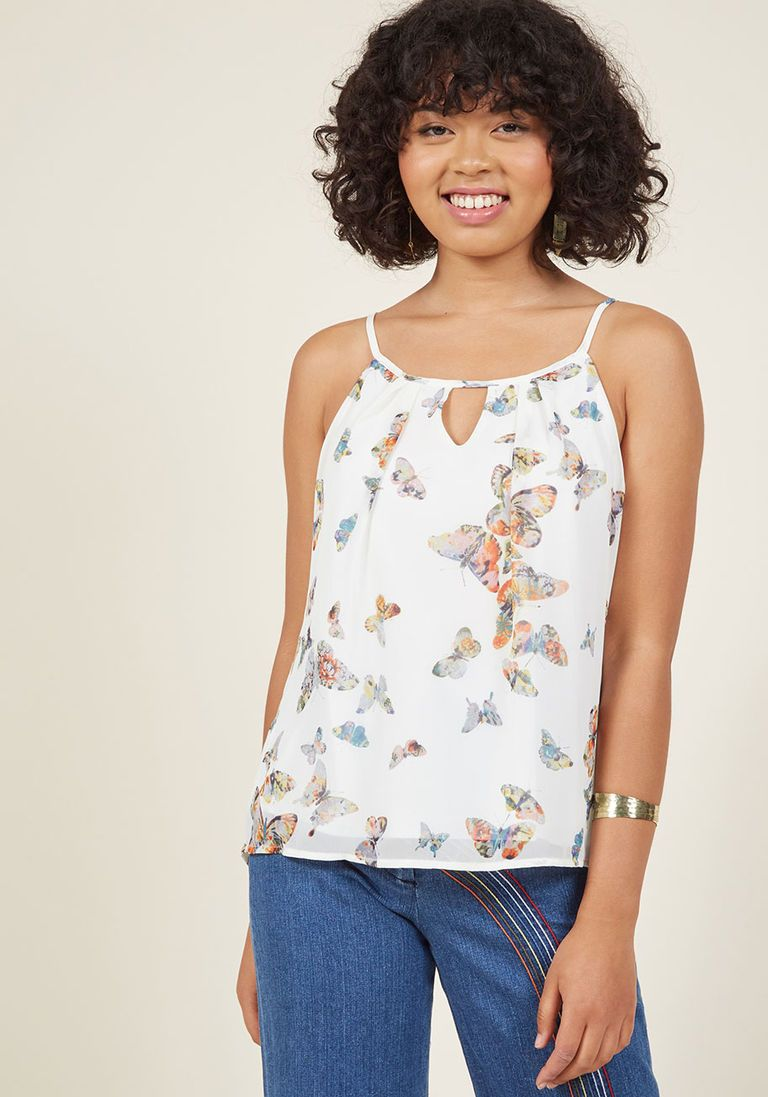 d8f76703227a96 Spaghetti Strap Chiffon Keyhole Tank Top in 2X - A-line Waist - Plus Sizes  Available