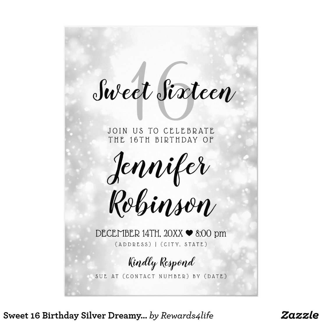 Sweet 16 Birthday Silver Dreamy Wonderland Card Elegant Classy