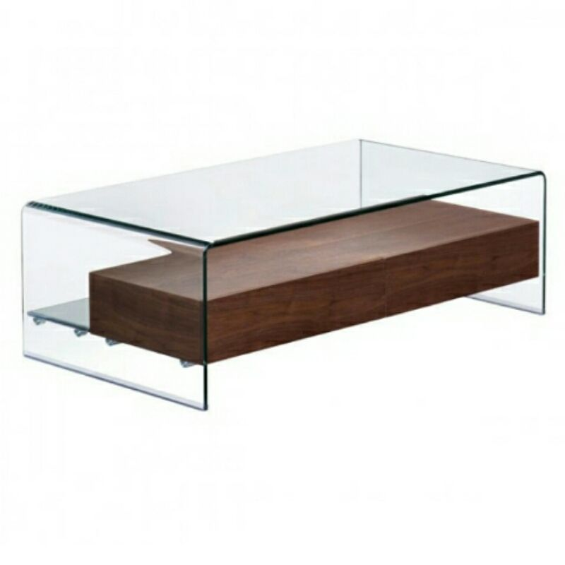 Shaman Coffee Table Walnut A sensual curved shape contrasted with a