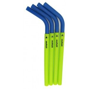 Silicone drinking straws 4 pack - blue by Greenpaxx