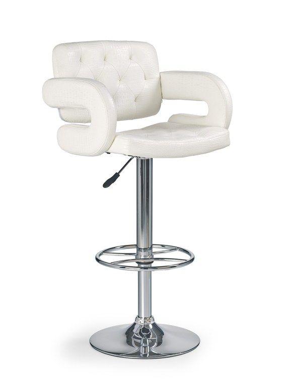 Moderne Witte Barstoelen.Luxe Zeer Comfortabele Barkruk Uitgevoerd Met Een Witte Kunstleren