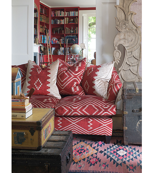 Mohave fabric native american inspired geometric design in red and brown upholstery for Native american living room decor