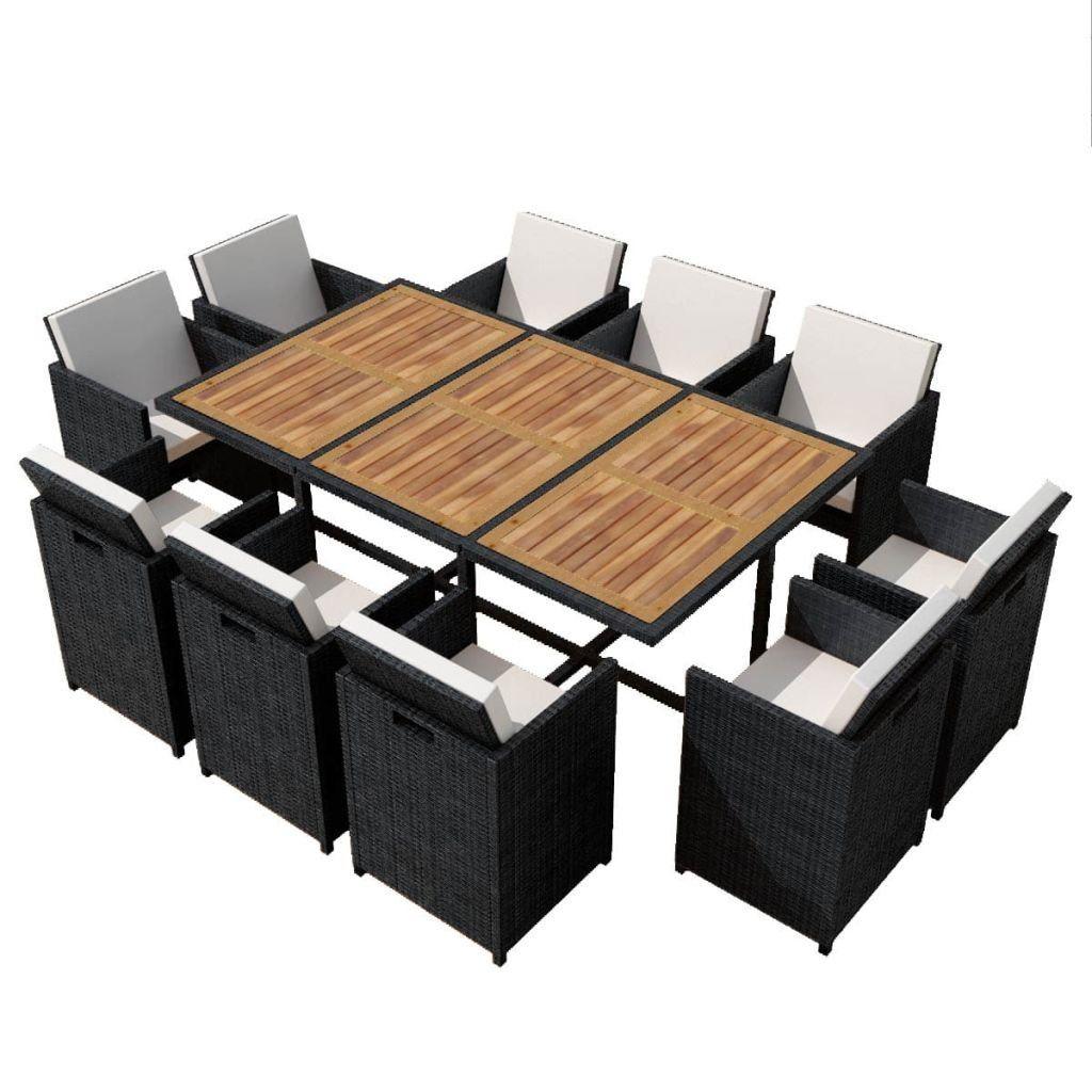 black wicker patio furniture table