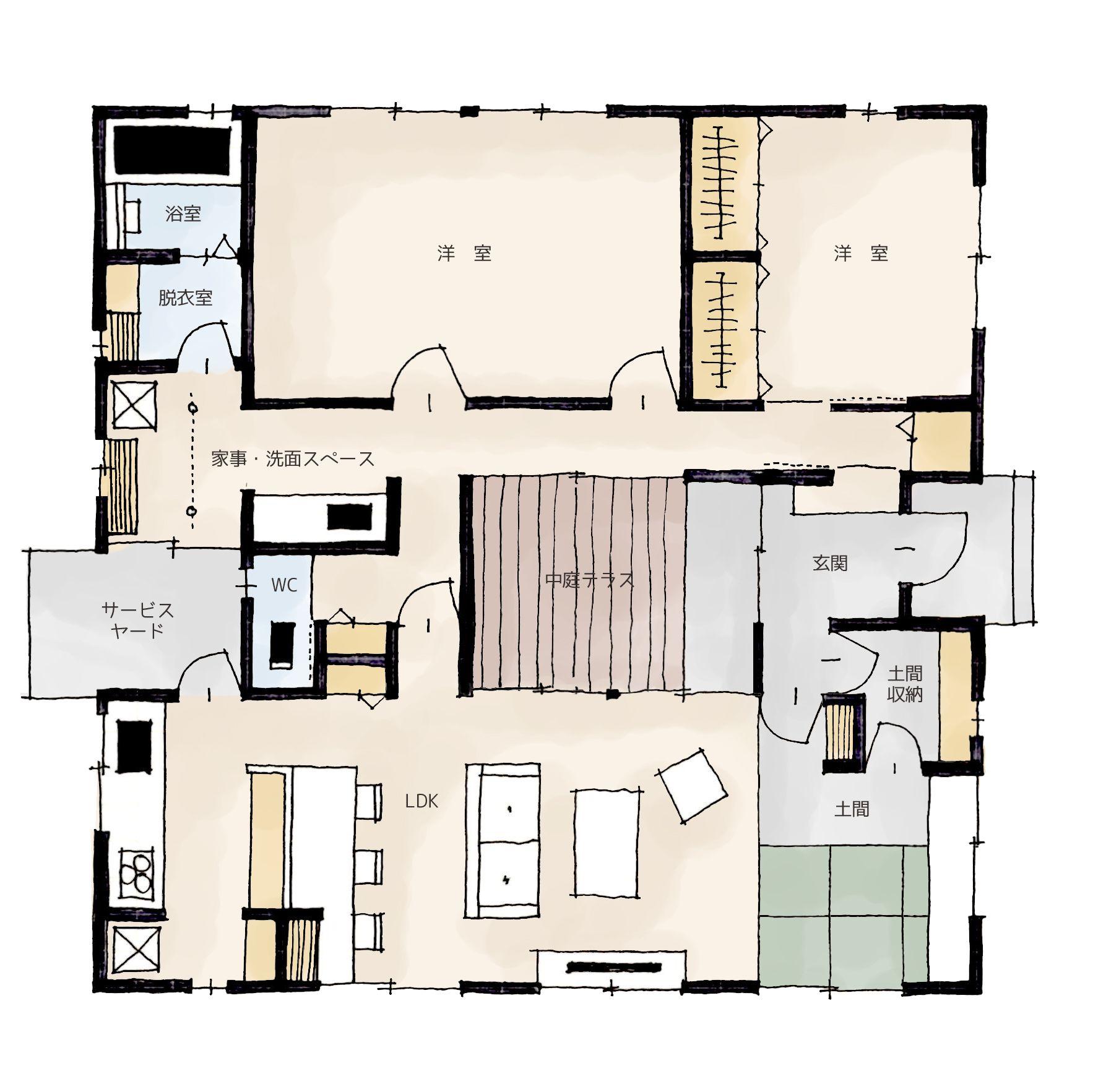 猫と暮らす中庭テラスのある家 の間取り 家の間取り 間取り 平面図