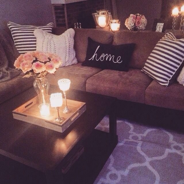 Cozy Living Room With Chocolate Brown Couch