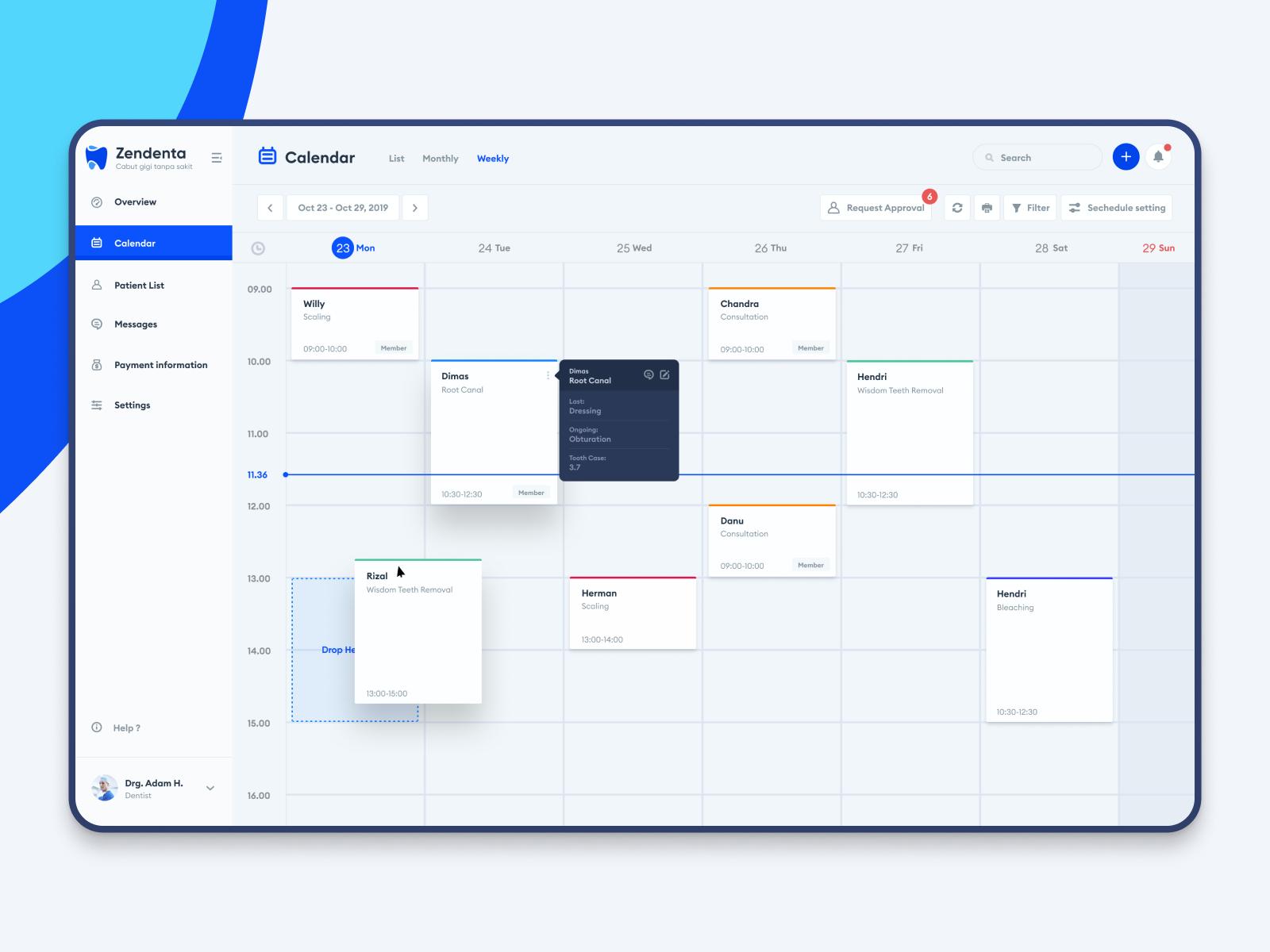 Zendenta Calendar View Calendar View Calendar Web App Design