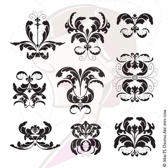 Damask Pattern VECTOR Clipart Black Graphics Silhouette Scrapbook Embellishment Digital Craft Download COMMERCIAL USE