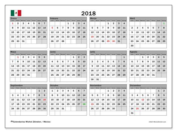 Calendario 2018, México Educación Pinterest Calendar, Calendar