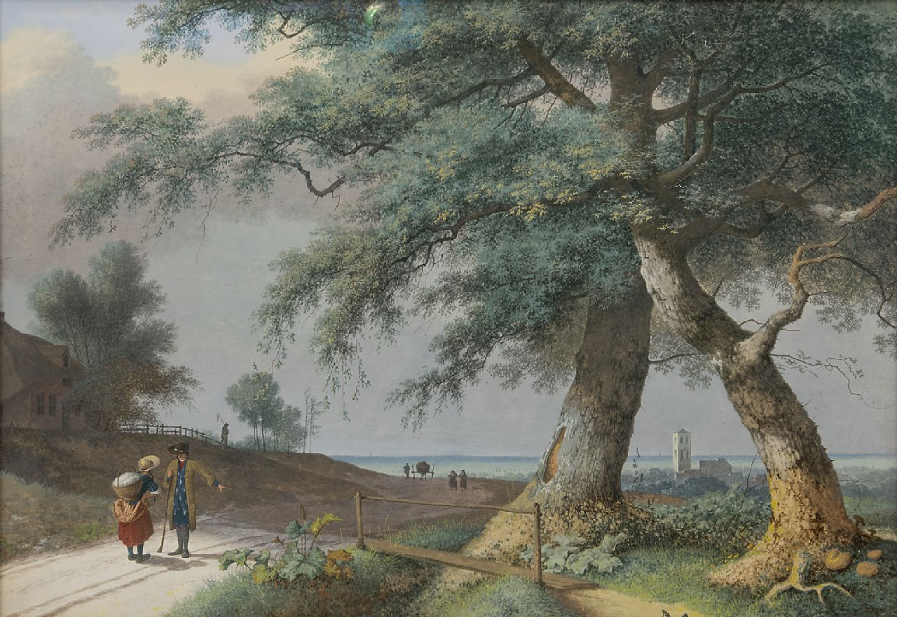 Josephus Augustus Knip (1777-1847) 'Italian landscape with figures on a country road' gouache on paper 49.5 x 71.5 cm. Collection Simonis & Buunk, The Netherlands.