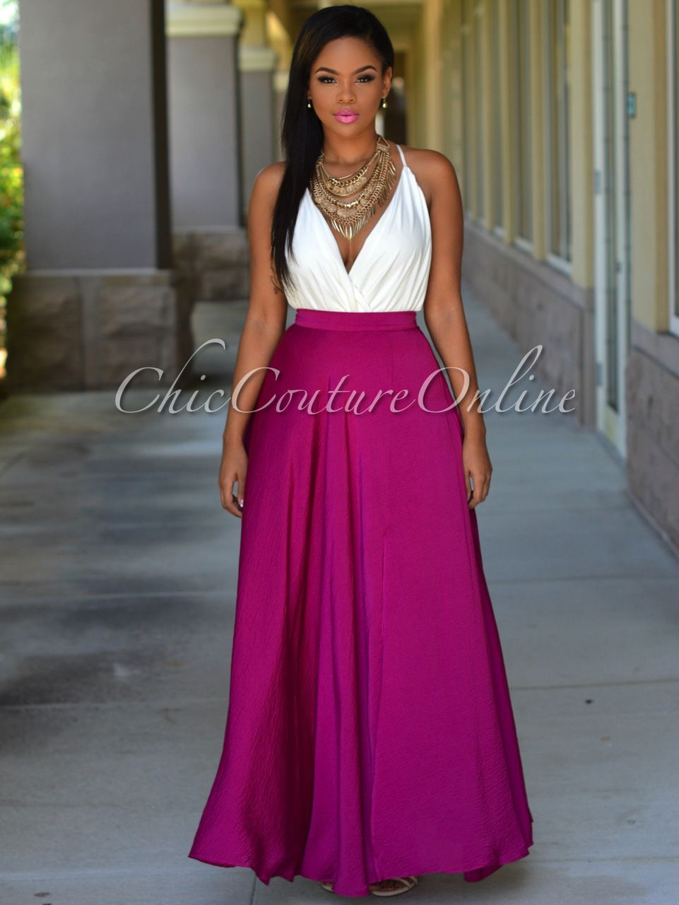 Chic Couture Online - Tiffany Magenta Slit Luxe Maxi Skirt, (http ...