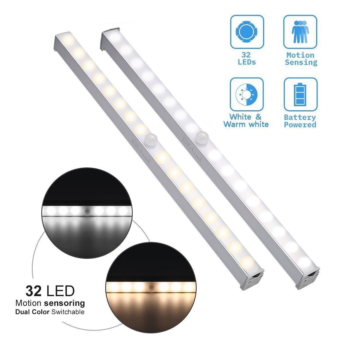 Closet light elfeland motion sensor led night light bar wireless
