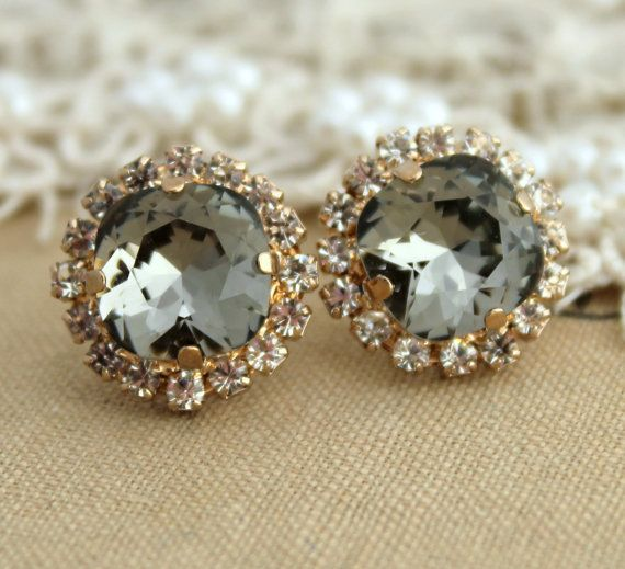 Gray Stud Earrings Swarovski Black Diamond Smoky Crystal Rhinestone Earring Bridesmaids Gift