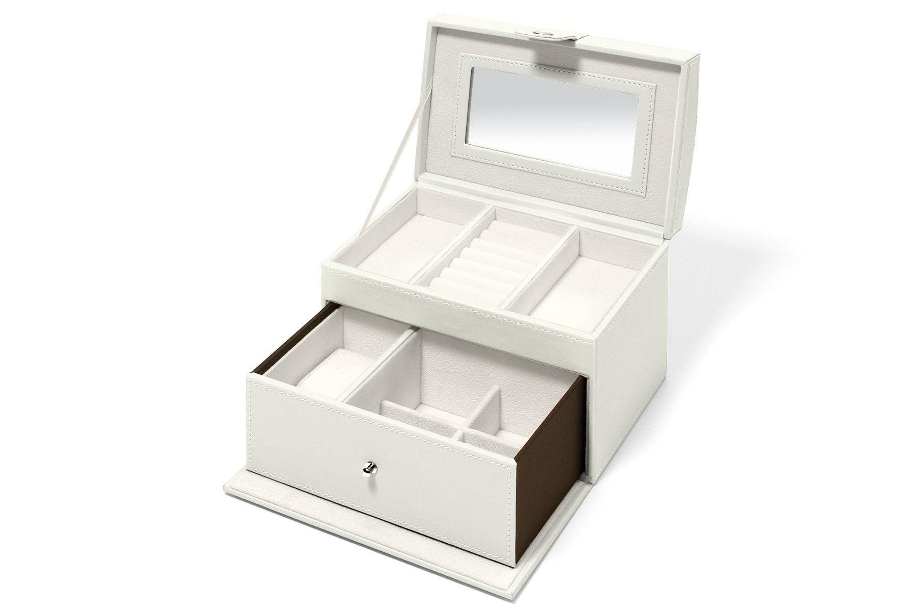 Nova Leatherette Travel Jewelry Box White Mist