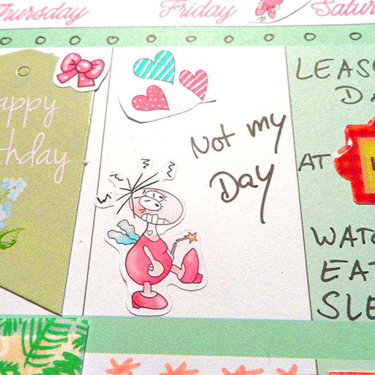 Fun planner sticker bad day even if your day is really bad let the mennies make you feel a little better available in pink kalender aufkleber für einen