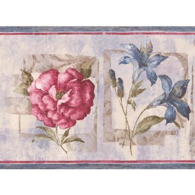 Retro Art Pink Blue Flowers Abstract Floral Prepasted Wallpaper Border, Multi #blueflowerwallpaper