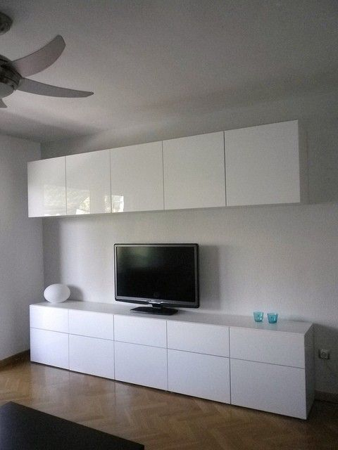 Ikea Besta Cabinets With High Gloss Doors In Living Room By