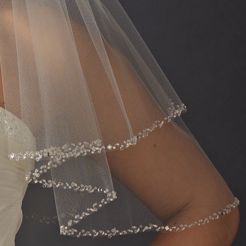 2 Layer Veil Elbow Length Finished Edge with Scattered Rhinestones and Pearls Along Edge only