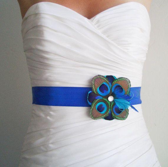 TUSCANY - Peacock Bridal or Bridesmaids Sash in Royal Blue - Made to Order