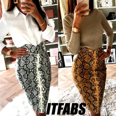 1ad64c08b7 Hot Chic Womens Snake Skin Printed Bodycon Skirt High Waist Party Club  Cocktail OL Skirt Pencil Stylish New