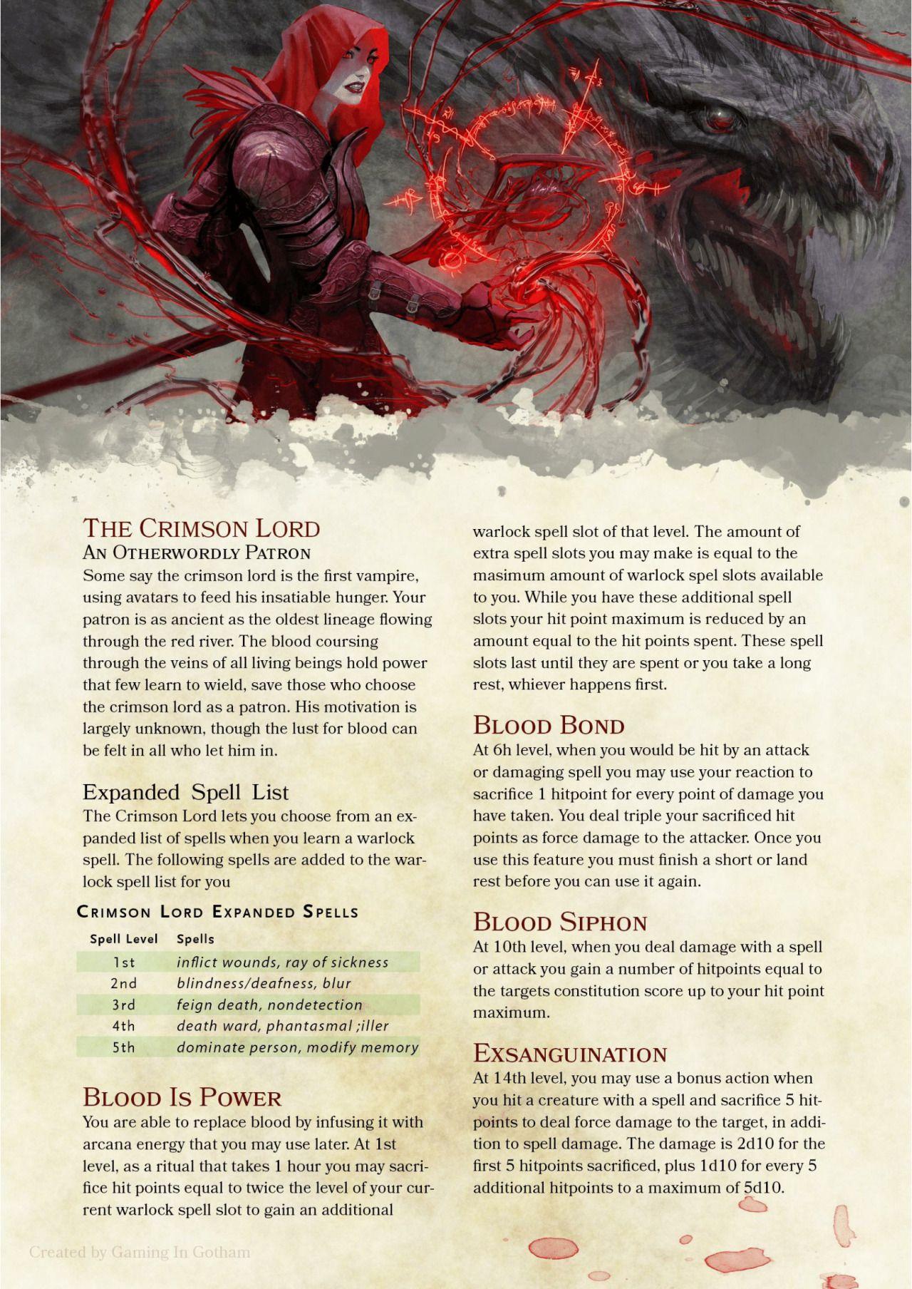 Crimson Lord warlock patron by PoundTown00 | my story ideas ...
