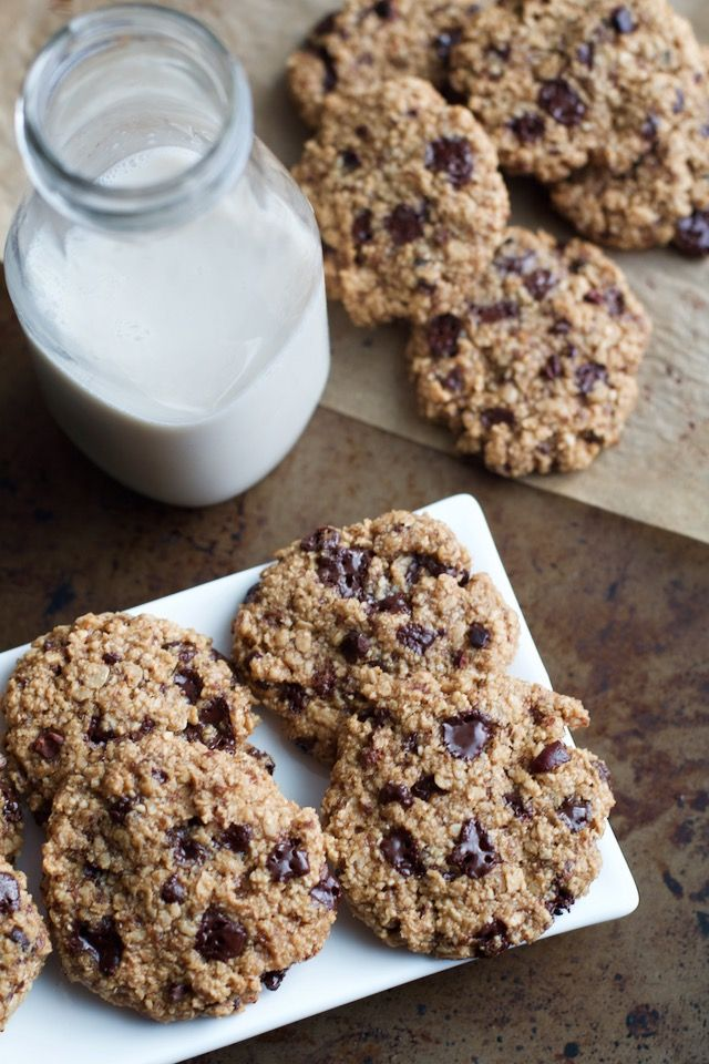 These Dark Chocolate Almond Oatmeal Cookies are made without flour, butter, or eggs, but so soft and chewy that you'd never be able to tell!