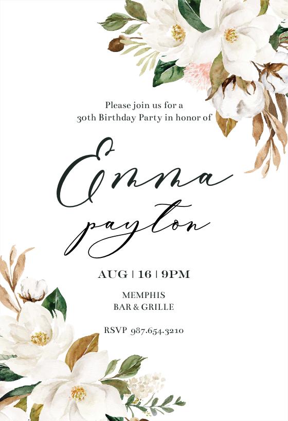 Simple Magnolia Birthday Invitation Template Greetings Island Birthday Invitation Templates 21st Birthday Invitations Free Birthday Invitation Templates