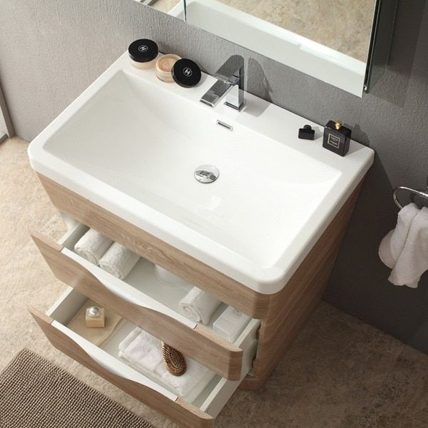 Fresca Milano 32 Inch White Oak Modern Bathroom Vanity With Medicine Cabinet