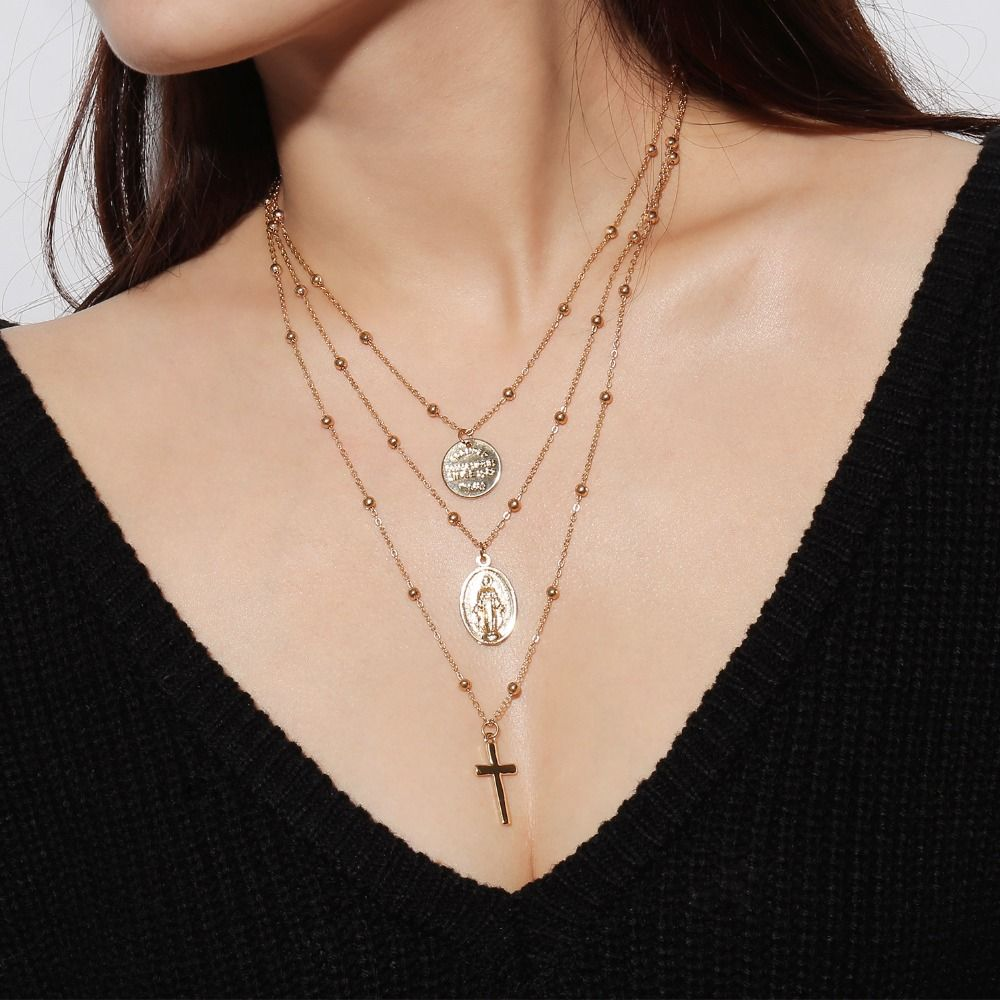 Long pendant necklace cross chain multilayer coin necklaces for