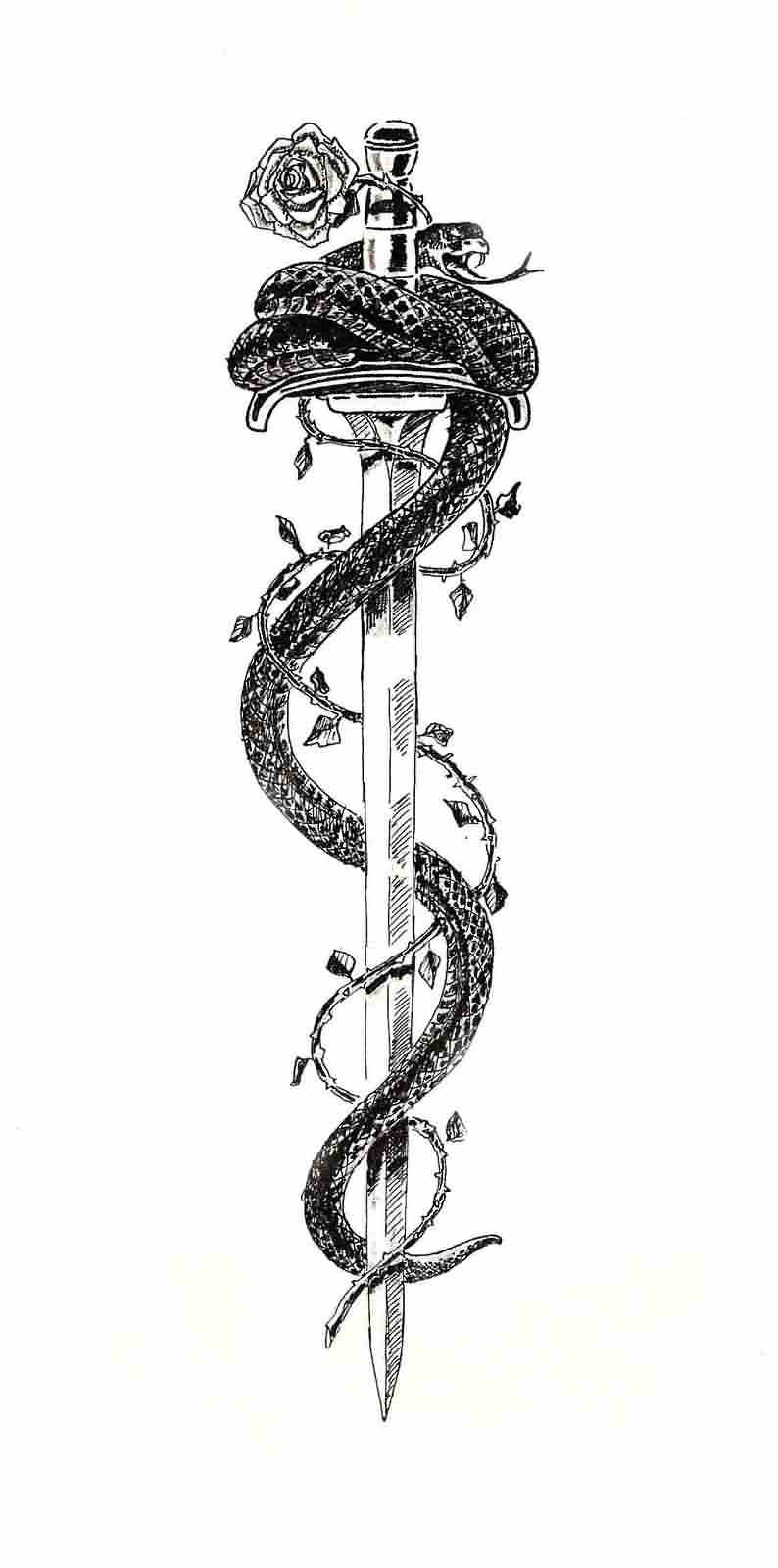 137eed003 Black Ink Samurai Sword With Snake And Rose Tattoo Design | Tattoos ...