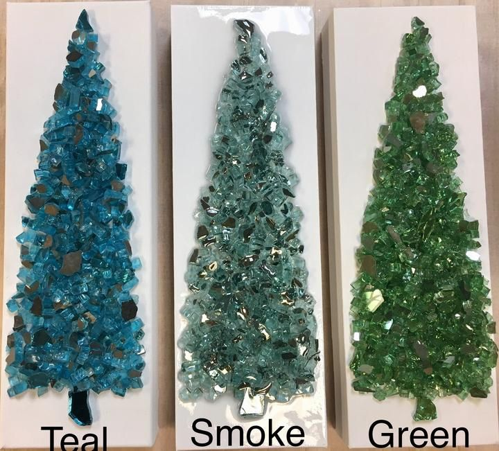 4 X 12 Christmas Tree Art Shattered Glass Christmas Decorations Broken Glass Crafts Fused Glass Ornaments