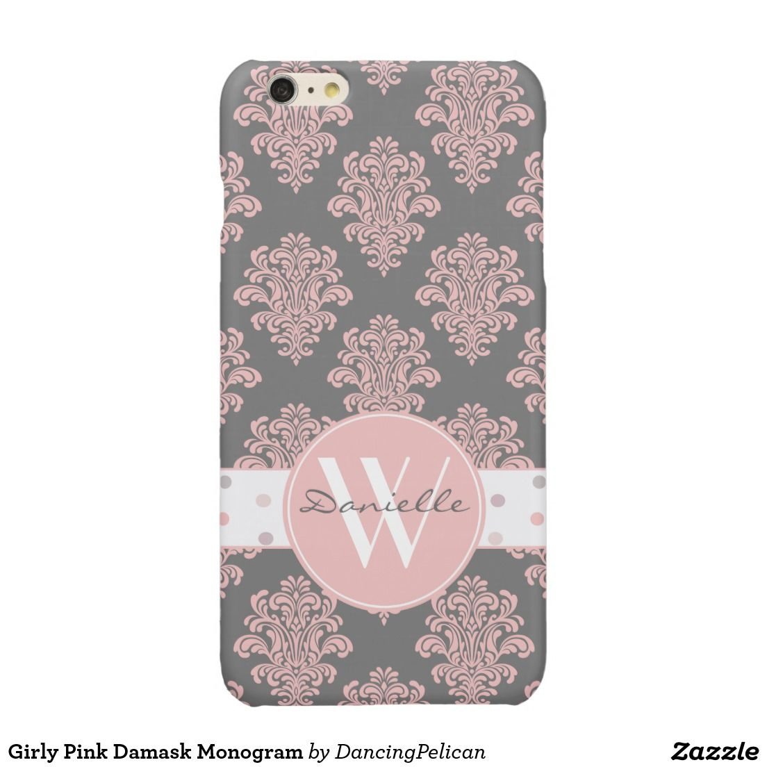 Girly Pink Damask Monogram Glossy iPhone 6 Plus Case - Pink and feminine, this damask design is shown here against a stylish gray background with a matching polka dot band and round monogram frame. Sold at DancingPelican on Zazzle.