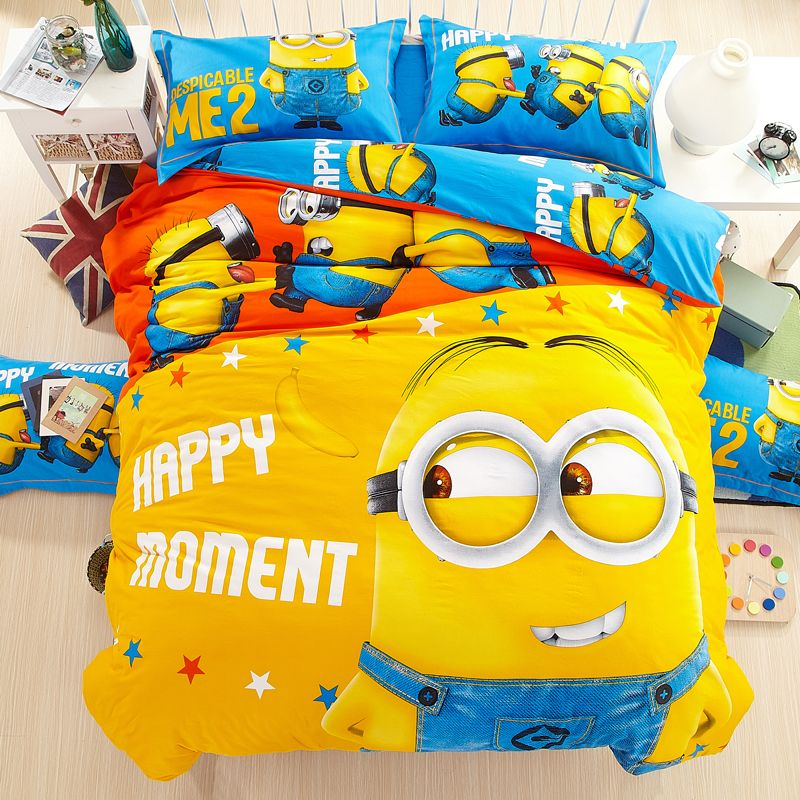100%cotton Cartoon Minion Bedding Sets For Adult Children Bed Linen With  Duvet Cover/bed Sheets Kids King Twin Queen Size //Price: $79.50 U0026 FREE  Shipping ...