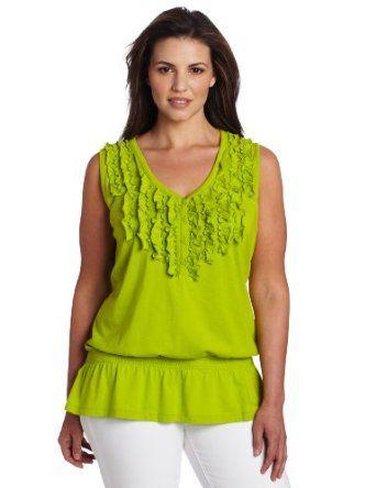 Jones New York Women's Sleeveless Knit Top, Jade Lime, 1X