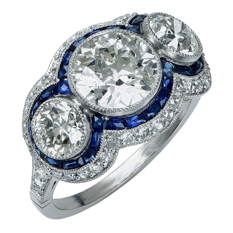 3 50 Carat Sapphire Diamond Platinum Ring