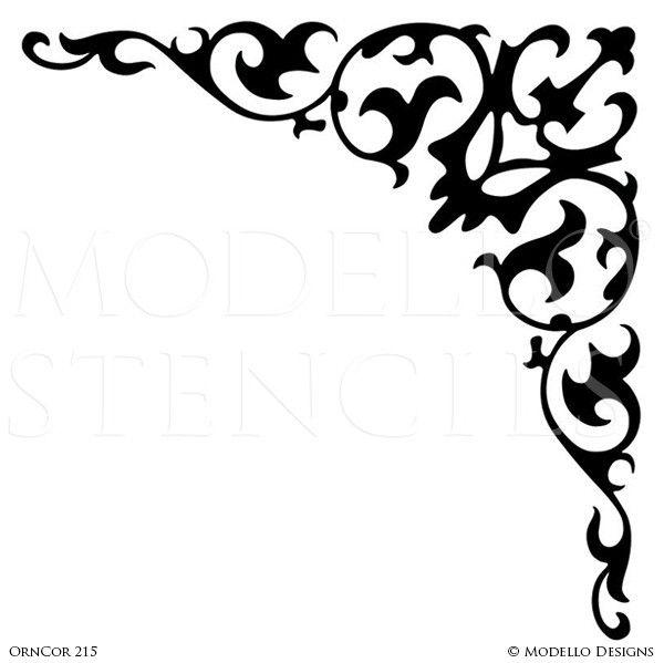 elegant grand ceiling design painted with corner stencils