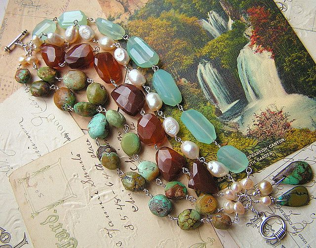 ❥ beautiful mix of turquoise, chalcedony, fwpearls hand-wired in sterling