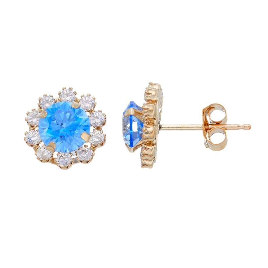 10k Gold Cubic Zirconia Flower Stud Earrings Stud Earrings Gold N Earrings