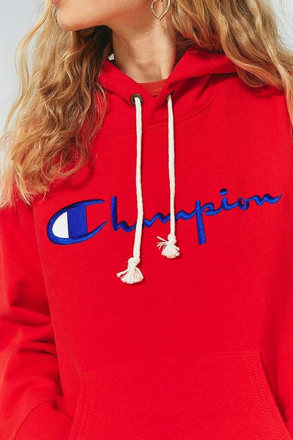 big sale 9dcf7 78dd7 Slide View  3  Champion Red Large Logo Hoodie