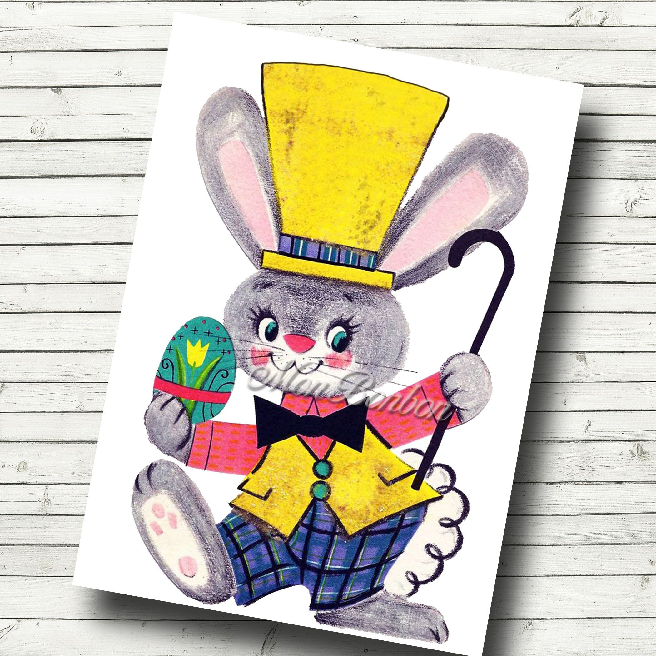 bunny easter bunny 5x7 original watercolor card